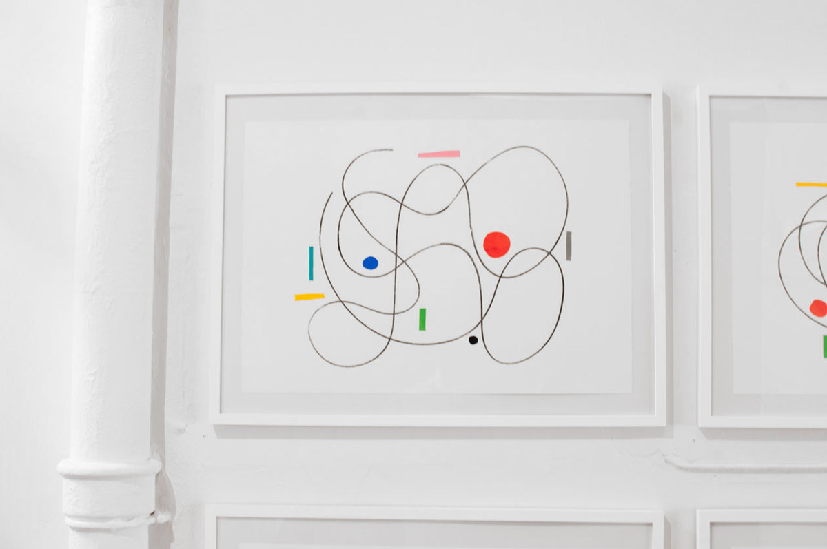 Ninasagt – Jonathan Calugi, Physical law 1, 2, 3, 4, 50x70cm, Collage/ Graphit, unique