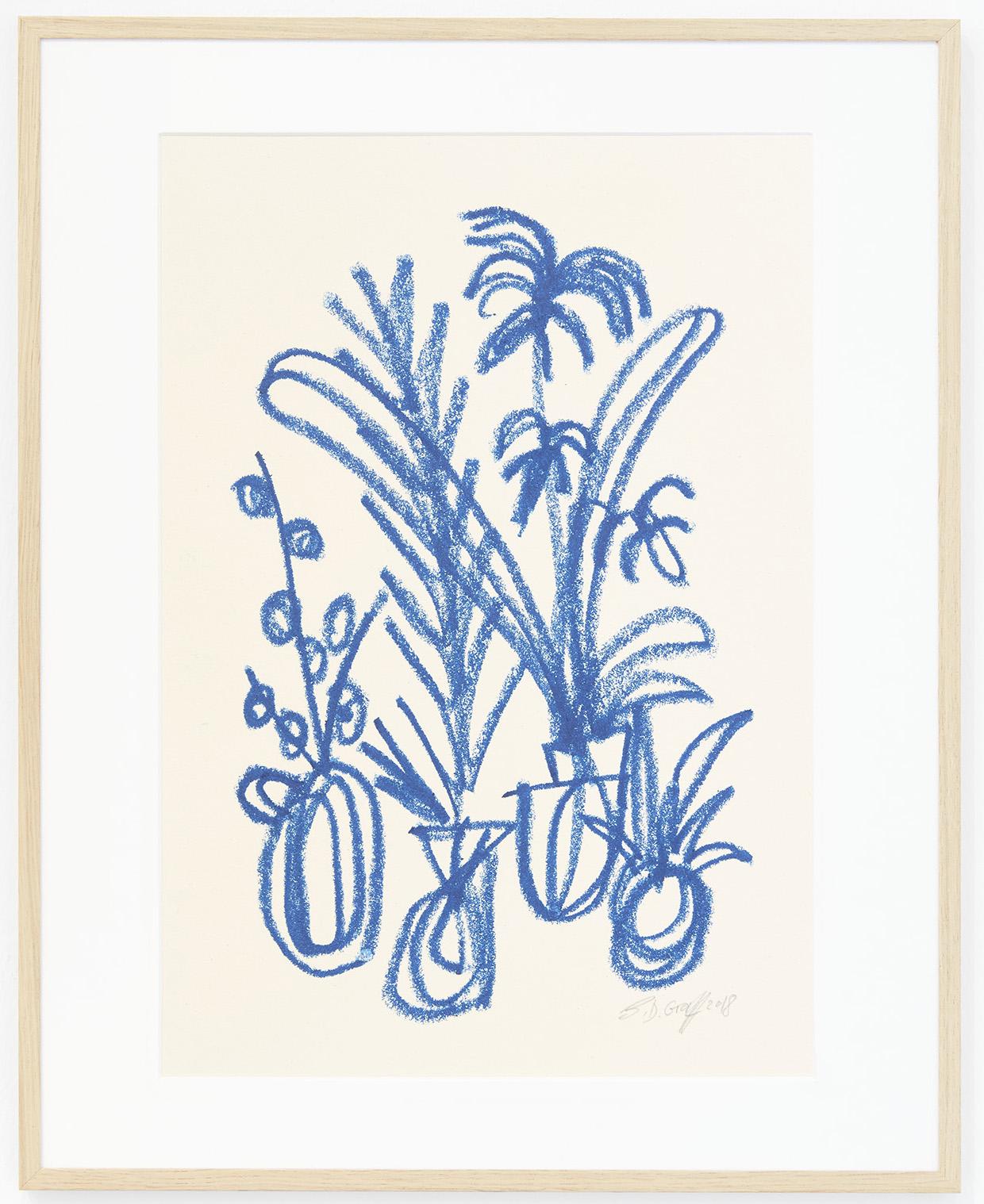 Ninasagt – B.D. Graft, blue-cluster_oil-pastel-on-paper_29.7-x-42-cm-800