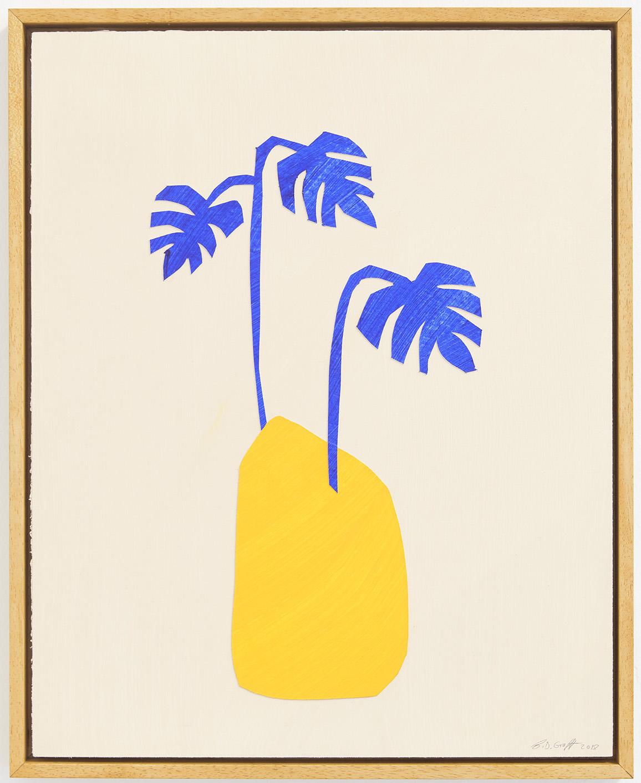 Ninasagt – B.D. Graft, blue-monstera_acrylic-and-paper-on-canvas-board_40-x-50-cm.1200
