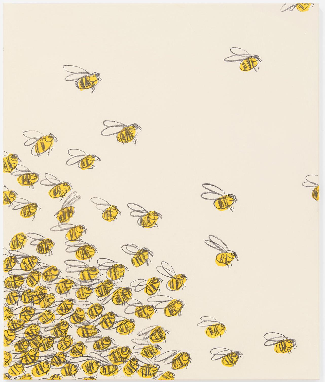 Ninasagt – B.D. Graft, the-swarm_acrylic-and-charcoal-on-canvas_100-x-120-cm_2400