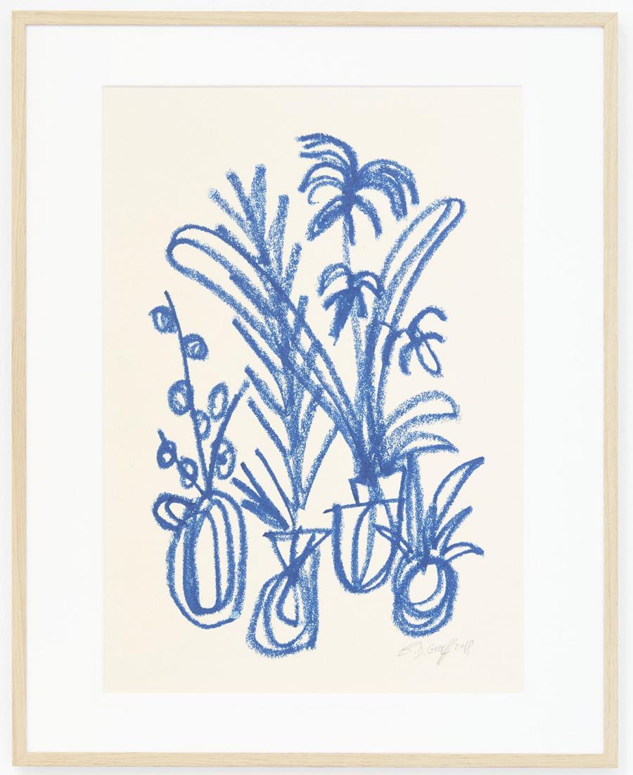 Ninasagt – Düsseldorf Art Academy class meeting., blue-cluster_oil-pastel-on-paper_29.7-x-42-cm-800