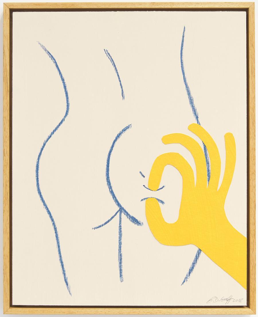 Ninasagt – David Iain Brown, cheeky-_oil-pastel-acrylic-and-paper-on-canvas-board_40-x-50-cm_1200